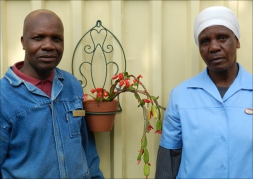 Hendrik Monene (left) Maintenance and Gardens / Martha Msiza (right) Laundry and Housekeeping